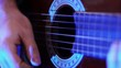 a guitar in the blue light