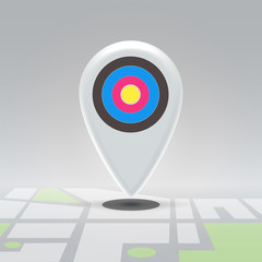 Targeted pin over city block map