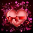 Herz mit Schleife auf modernem Hintergrund