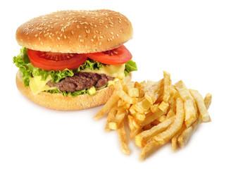 Hamburguesa,lechuga,tomate y patatas fritas.