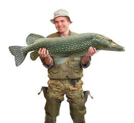 The Fisherman with big fish (The Northern Pike).