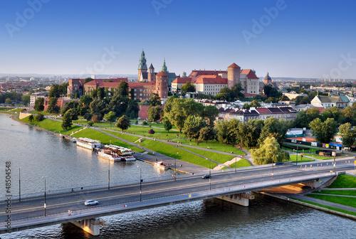 Fototapety, obrazy : Wawel Castle, Vistula river and bridge in Krakow, Poland
