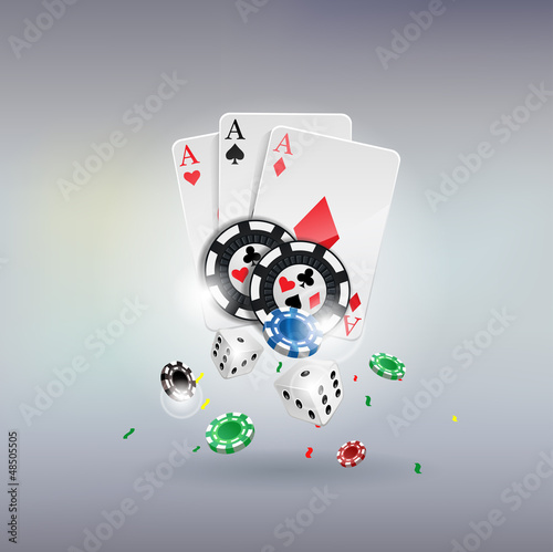 poker gambling chips poster ,Chips, dices, cards
