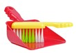 A dustpan and brush on a white background