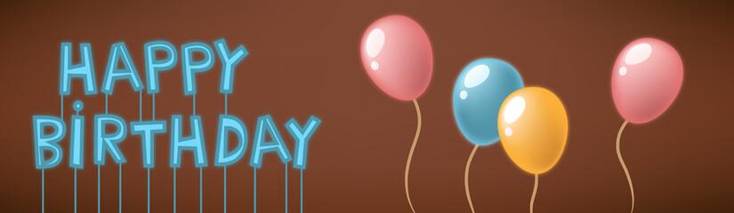 Happy birthday neon sign card
