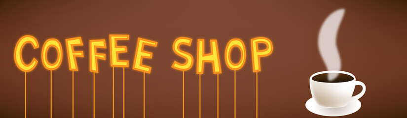 Coffee shop cartoon neon sign