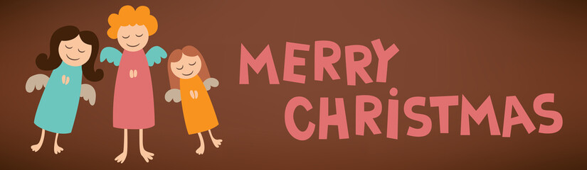 cartoon merry christmas post card sign with angels