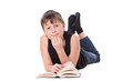 boy reading a book on white background
