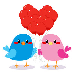 Birds Love Heart Balloons