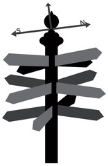 Direction Sign with Weather Vane Illustration