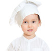 Cute little boy in chef's hat. Isolated on white