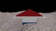 Netherlands flag arrow in abstract ocean of Euros animation