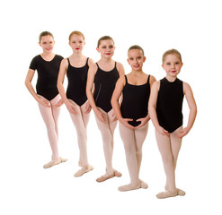Young Ballet Students with Feet in Third Position