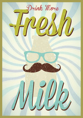 Vintage milk poster template typography vector/illustration