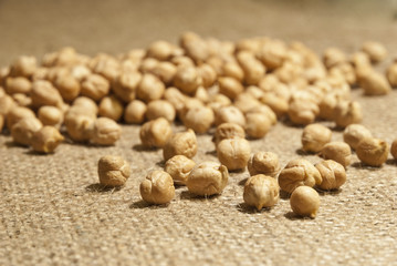 Chickpeas on natural fabric