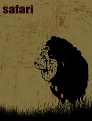 Lion silhouette on grunge background