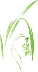 Grasshopper on a blade of grass