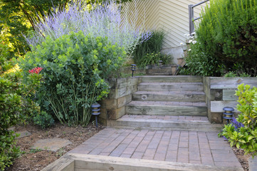 Garden with Brick Steps