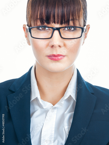 Portrait of a young attractive beautiful businesswoman, isolated