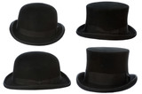 front and side view of top and bowler hats isolated