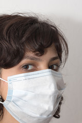 Girl in a medical mask