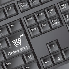 Online shop icon on keyboard