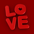 3d render of the word LOVE