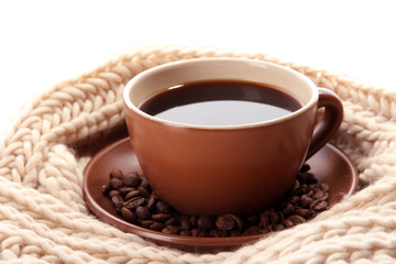 cup of coffee with scarf close-up