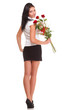 Beautiful young girl posing with a red rose woman isolated