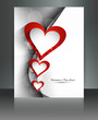 Valentine Days heart brochure wave card background illustration