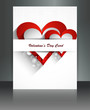 Valentine Days heart white  brochure fantastic card design