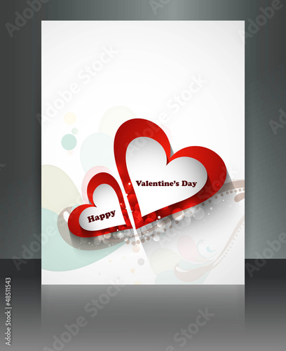 Valentine Days heart white  brochure celebration card illustrati