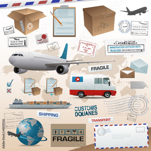 Distribution and shipping elements eps 10