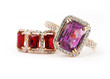 Jewelry rings with amethyst and ruby
