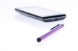 Capacitive pen and smartphones on white background