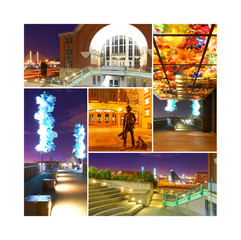 Collage of Tacoma downtown with glass and history museum