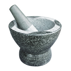 Stone pestle & mortar isolated on white background,with clipping