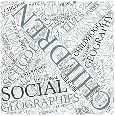 Children geographies Disciplines Concept