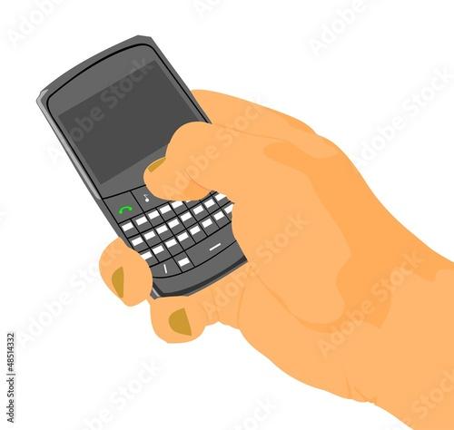 Рука с мобильным телефоном.