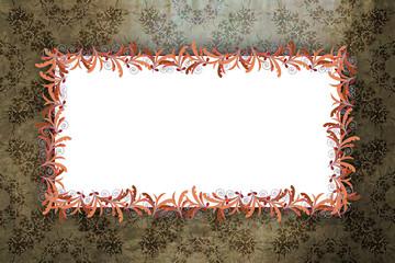 Flourish frame over baroque background