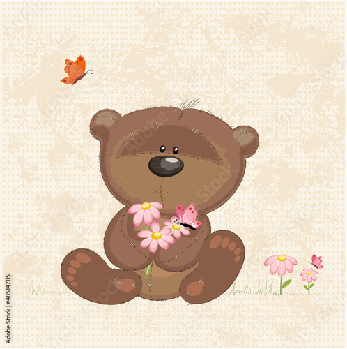 Cute bear with flowers