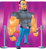 bodyguard bouncer with background poster
