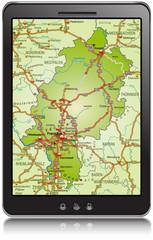 Landkarte von Hessen als Navigationsgerät