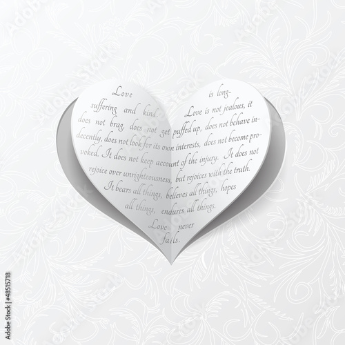 White wedding card with paper heart