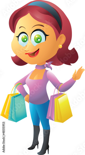 red head shopping girl