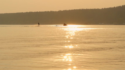 Water Skier Silhouette by Sunset