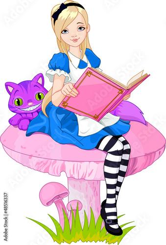Staande foto Magische wereld Alice holding book