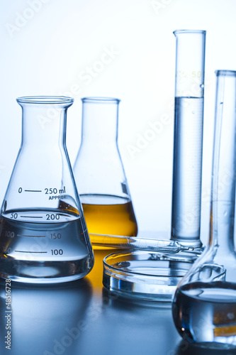 beakers in a pharmaceutical lab