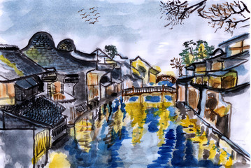 illustration The river village wuzhen