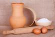 Flour, eggs and kitchen utensil